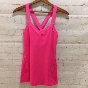 Lululemon wide strap cross back tank hot pink 6